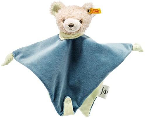 Steiff Friend-Finder Knister-Teddybär Schmusetuch - 28 cm - Kuscheltier für Babys - weich & waschbar - creme/petrol (240324)