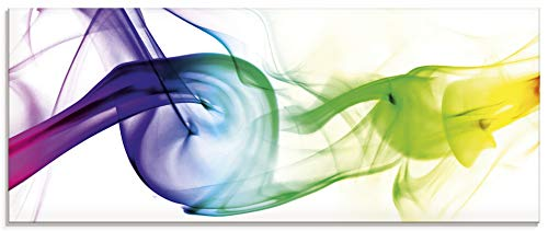 Artland Glasbilder Wandbild Glas Bild einteilig 125x50 cm Querformat Design Abstrakte Kunst Farben Muster Rauch Bunt T5QF