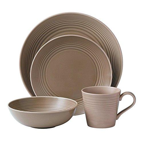 Gordon Ramsay Royal Doulton Maze 4-Piece Dinnerware Set, Taupe