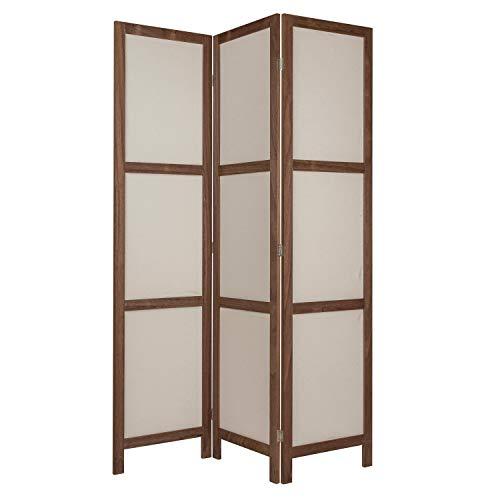 NEG Paravent Rigel (braun) Raumteiler/Sichtschutz aus Echt-Holz und Baumwolle