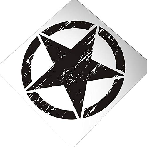 """20"""" Star Hood Decal Sticker Compatible with Jeep Wrangler Freedom Edition Hood (Matte Black)"""