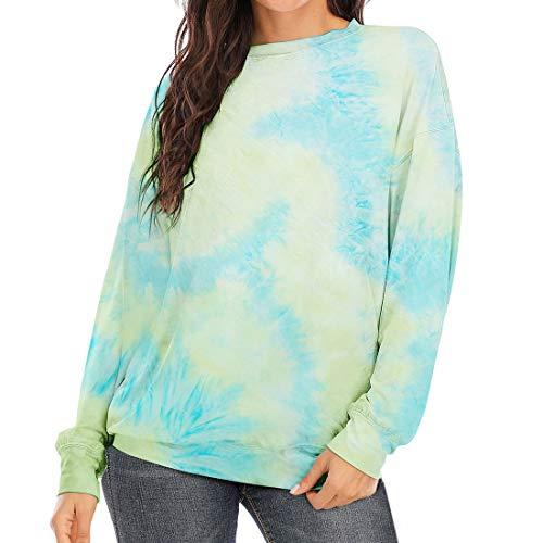 Frauen T-Shirts Langarm Sweatshirts Loose Print Shirt Damen Rundhalsausschnitt Casual...