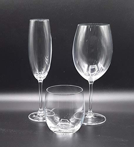 Pagano home -Bohemia - Servizio bicchieri 36 pezzi per 12 persone composto da 12 bicchieri acqua, 12 calice vino, 12 calice spumante Modello Kolibri
