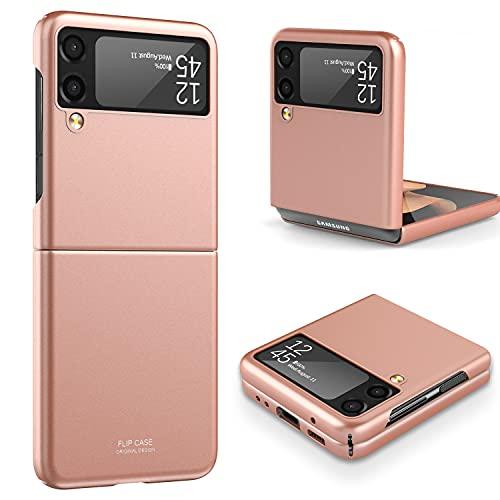Vizvera Kompatibel mit Samsung Galaxy Z Flip 3 Hülle 2021, Ultra dünn Folable Matt PC Handyhülle Stoßfest Kratzfest Schutzhülle für Samsung Galaxy Z Flip 3 5G - RosenGold