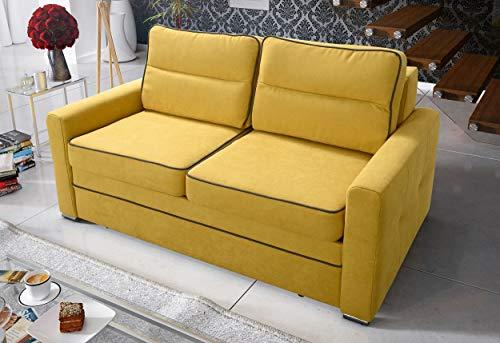 MG Home Sofa Schlaffunktion Falten Behälter für Bettwäsche Arte (Gelb, 190 cm + Schlaffunktion 160x200 cm)