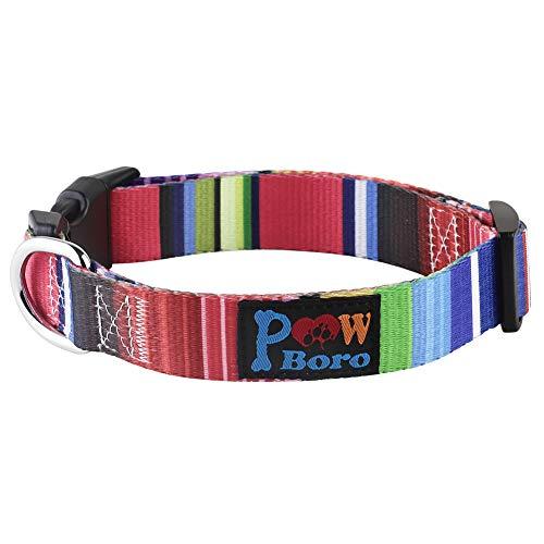 Powboro Hundehalsband, mehrfarbig, gestreift, Breite 2,5 cm, Halsumfang 32 cm - 50 cm, verstellbare Halsbänder für mittelgroße Hunde, Größe L (7 Farben gestreift)