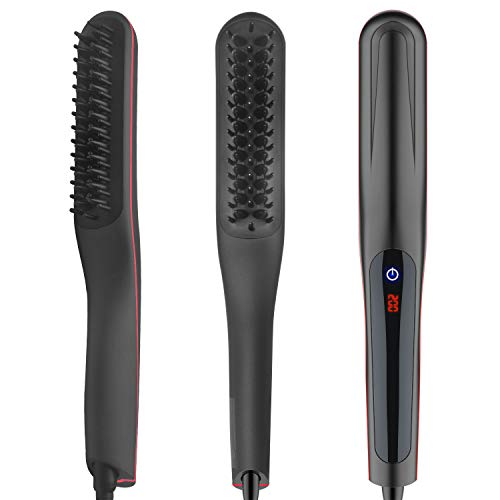 Bartglätter Kamm für Herren Haarglätterr Bürste Quick Beard Straightener Multifunktionale Electric Hair Straightener Brush LCD Display Keramik Quick Hair Styler (Black+Red)