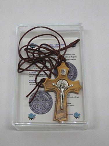 GTBITALY 10.023.90 LACSCA Cruz San Benito de madera de olivo con collar con cordón de 4,5 cm perfilada con caja de regalo y oración en italiano