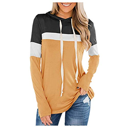 VEMOW Sudaderas Mujer con Capucha Bloque de Color a Rayas Camiseta de Manga Larga Túnica Suéter con Cordón Tops con Bolsillos, Elegantes Moda Hoodie Jersey Larga(B Amarillo,M)