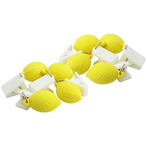 com-four® 8X Tischdeckenbeschwerer mit Klammern - Tischtuchgewichte im Früchte-Design, 18g (8 Stück - Zitrone)