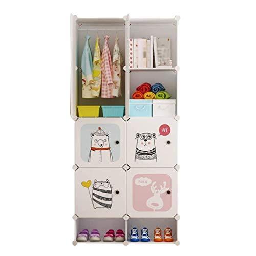 QIFFIY Armario Ropero Portable Simple Asamblea Armario de plástico Armario Dormitorio Combinación Armario Armario Ahorrar Espacio Armario (Color : A)