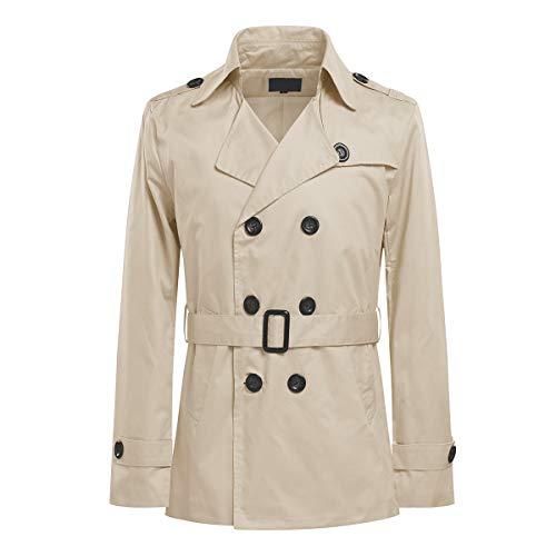 AoWOFS korte trenchcoat voor heren, regular fit, mantel voor lente, zomer, herfst