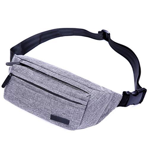 JERKKY heuptas voor heren, van nylon, voor reizen, hip bum, heuptas voor mobiele telefoon, grijs