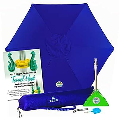 BEACHBUB All-in-One Beach Umbrella System. Includes 7 ?' (50+ UPF) Umbrella, Oversize Bag, Base & Accessory Kit