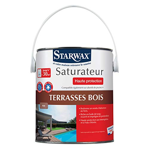 STARWAX Saturateur haute protection pour terrasses en bois teinte teck 2,5L - Nourrit et protège le bois