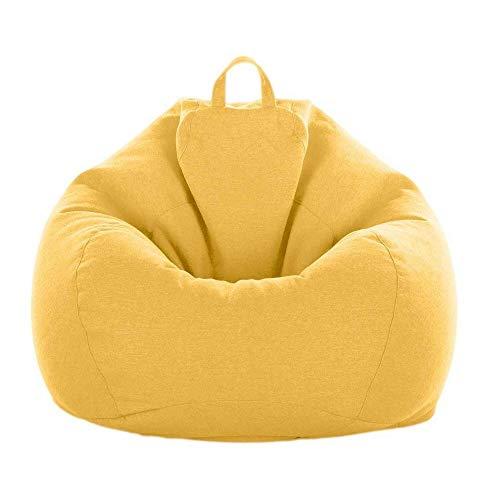 LULUVicky Lazy Sofa Sitzsack Stühle Gaming Sitz Sofa Abdeckung Indoor für Erwachsene Kinder Lazy Sofa Bag geeignet für Zuhause (Größe: S, Farbe: Gelb)