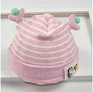 Baby Decoration Hat Infant Antlers Stripe Fetal Cap Newborn Hat Baby Packable Soft Warm Hedging Cap for 0-4 Months(Pink) Cute Cap (Color : Pink, Size : Head Circumference)