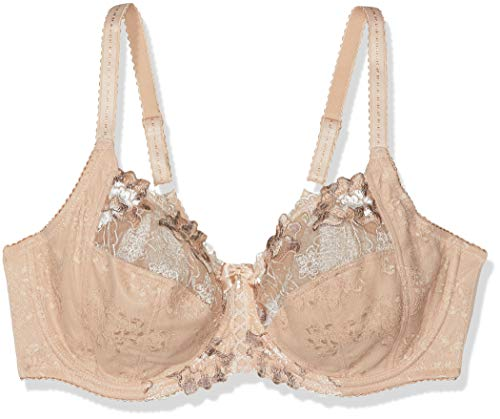 Pour Moi Women's Sophia Lace Embroidered Side Support Bra 3827 34D Latte