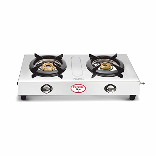 Preethi Fino Stainless Steel 2-Burner Gas Stove, 14-Pieces