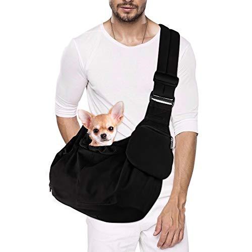 Nasjac nosidełko dla zwierząt domowych, pies papoose wolna ręka torba do noszenia dla szczeniaka kota z dolnym podtrzymywanym regulowanym wyściełanym paskiem na ramię i torbą otwierana przednia kieszeń na zamek błyskawiczny pas bezpieczeństwa dla mał