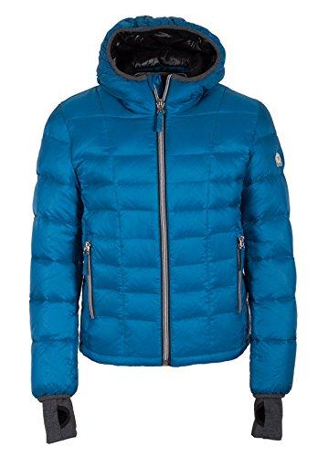 Grimada A32 heren donsjas winterjas TARORE met capuchon blauw (lengte ca. 70 cm), echt dons/zeer warm.