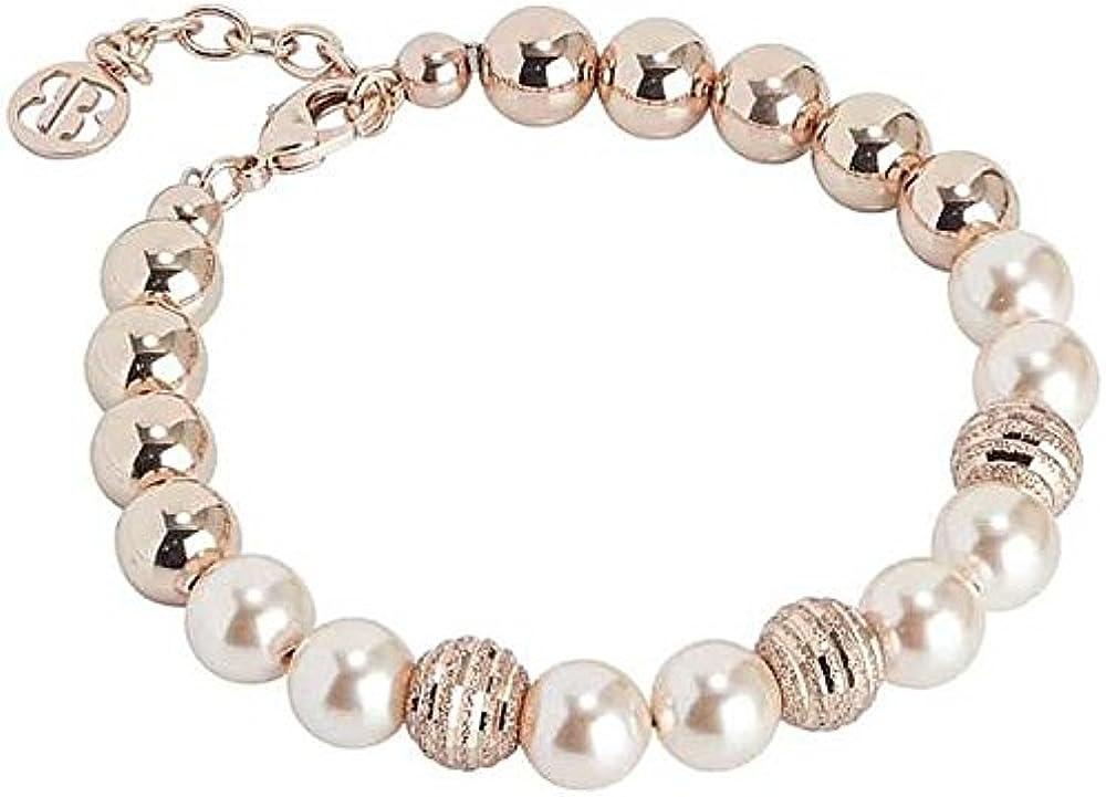 Boccadamo, bracciale per donna, in bronzo placcato oro rosa con perle swarovski XBR497RS