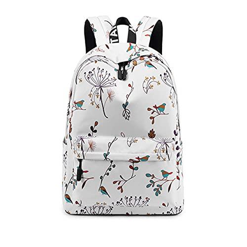 MIMITU Mochila informal impermeable para mujer con estampado de flores, mochila para ordenador portátil universitaria para niñas, mochila de viaje para mujer, color blanco