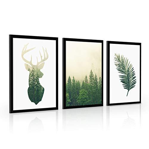 4dekor Bilder set mit rahmen, Wählen größe (3x A2 oder 3x A3) und farbe des rahmens (4 Farben), Bilder wohnzimmer oder schlafzimmer, Moderne deko poster set   Wilde natur