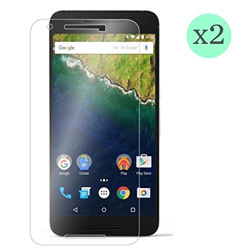 (Pack de 2 unid) Protector de pantalla Cristal templado para Huawei Nexus 6P Calidad HD, Grosor 0,3mm, Bordes redondeados 2,5D, alta resistencia a golpes 9H. No deja burbujas en la colocación (Incluye instrucciones y soporte en Español)