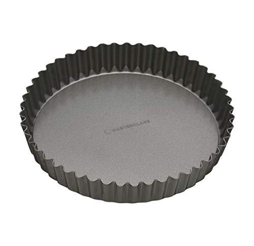 KitchenCraft Molde Quiche Redondo Base Suelta, Acero, Negro, 25 cm