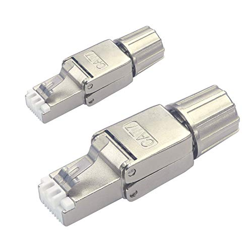 VCELINK RJ45 Stecker Werkzeuglos für Verlegekabel Cat7 Cat6A Netzwerkstecker Werkzeuglos Feldkonfektionierbarer Geschirmt 10 Gbps 2 Stück