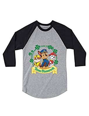 Team Shamrock St. Patrick's Day Paw Patrol Gift Official 3/4 Sleeve Baseball Jersey Toddler Shirt 3T Dark Gray
