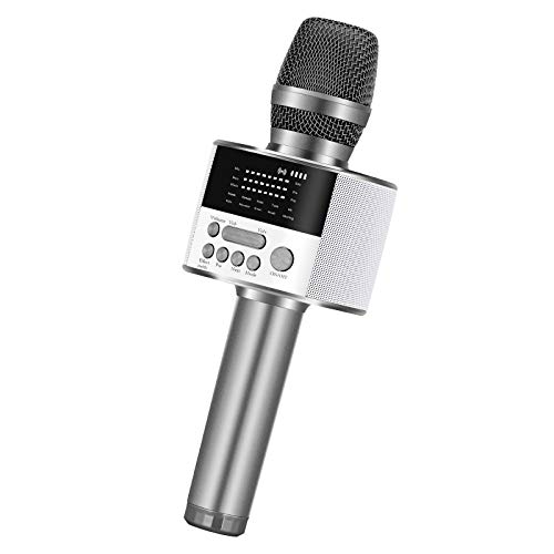 BONAOK Upgraded Portable Bluetooth Karaoke Microphone with LED Screen, Wireless Handheld Singing Machine Speaker for Indoor/Outdoor/Party/Classroom/Presentation/All Smartphones/TV(D10 Space Gray)