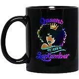 N\A Queens Born septiembre Camiseta Chica Negra Virgo Libra cumpleaños Taza - cumpleaños Virgo Reina Taza Negra - cumpleaños septiembre - Afro Queen PNG - Hermosa Reina Negra Taza de café Negro