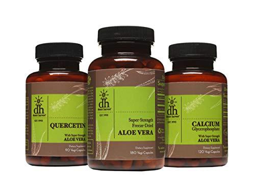 Desert Harvest Interstitial Cystitis Starter Kit - Super Strength Aloe Vera Capsules + Calcium Glycerophosphate + Quercetin