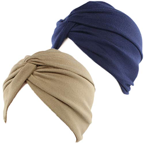 2 Piezas Gorros Turbantes para Mujer Cancer Pañuelos Cabeza Mujer Gorros de Dormir Algodón Elástico Frontal Cruzado Gorro Turbante Pelo Mujer para Pérdida de Pelo (Azul Marino+Caqui) 🔥
