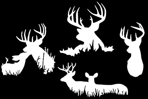 """Slaced Deer Buck Hunting Silhouette Decals 4 Pack (Buck White, Small ~3.5"""")"""