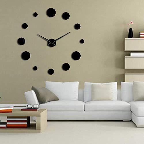 Wanduhr Round Pared Clock Spiegel Acryl Home Decor DIY Einfaches Design Rahmenlose Riesenwanduhr Moderne Uhren 3D Aufkleber 37Inch Schwarz