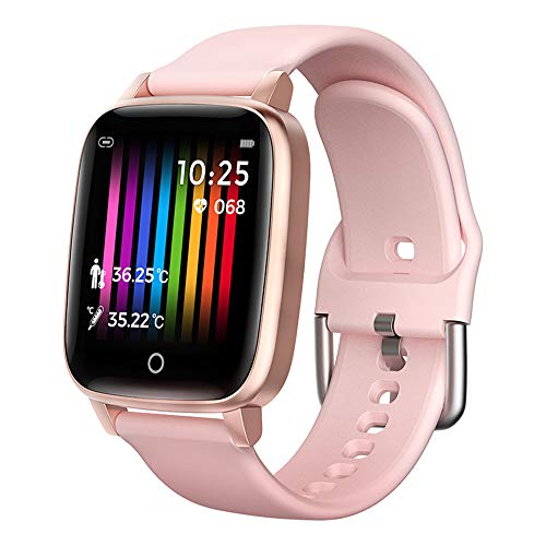 WAFA Fitness Tracker Watch with Heart Rate Body Temperature Monitor, Pedometer Smart Watch with Sleep Step Calories Monitor, IP68 Waterproof Activity Tracker for Women Men Kids(Pink)