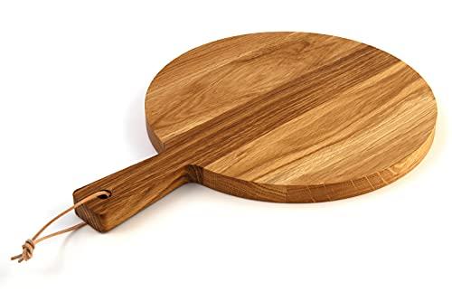 Rivera Tabla de cortar, tabla de pizza y plato de pizza de madera de roble, tabla de cortar para pizza, tabla de servir para el hogar, restaurante o bar, grande 39,5 x 29 x 2 cm