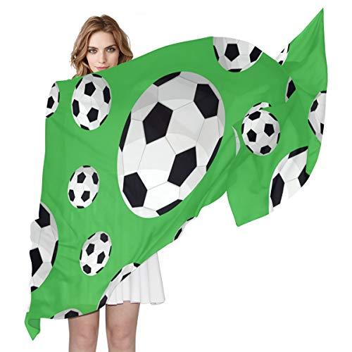 QMIN Schal aus Seide, für Sport, Fußball, Fußball, Muster, modisch, lang, leicht, Schal, Tidy, Wickelschal, Schalldämpfer für Frauen und Mädchen
