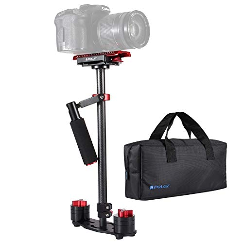 Camera stabilisator/Carbon Fiber Handheld Stabilizer, for DSLR/DV Digital Video/Camera's, Load Range: 0.5-3kg, 38.5-61cm (Color : Red)