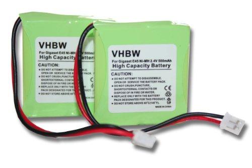 vhbw 2X NI-MH Akku 650mAh (2.4V) für Handy, Smartphone, Telefon Siemens Gigaset E40, E45, E450, E455, Swisscom Aton CL-102 wie V30145-K1310-X382.