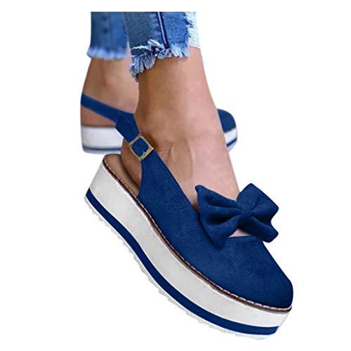 Learn More About Duinzusyful Women's Wedges Sandals Summer Beach Bow Knot Slip On Platform Sandals C...