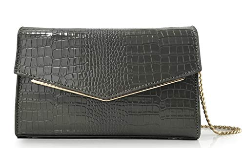 Women Envelop Glossy Evening Bag Croc Patent Leather Clutch Chain Cross Body Bag (Grey)