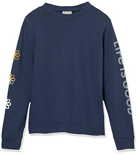 Life is Good Women's Womens Simply True Crew Neck Sweatshirt,  Darkest Blue,  S