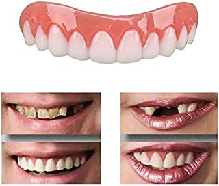 Wecando False Tooth Stickers Simulation Teeth Whitening Dentures Paste Braces Upper Tooth Cover Tool Perfect Smile Comfort Teeth(Upper teeth)
