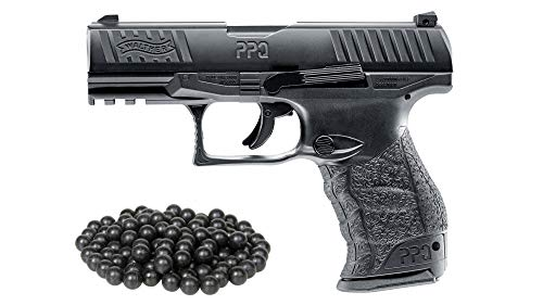 T4E Umarex .43cal Walther PPQ GEN2 Co2 Paintball Pistol Black semi auto W/Free 50 Rubber Balls Package