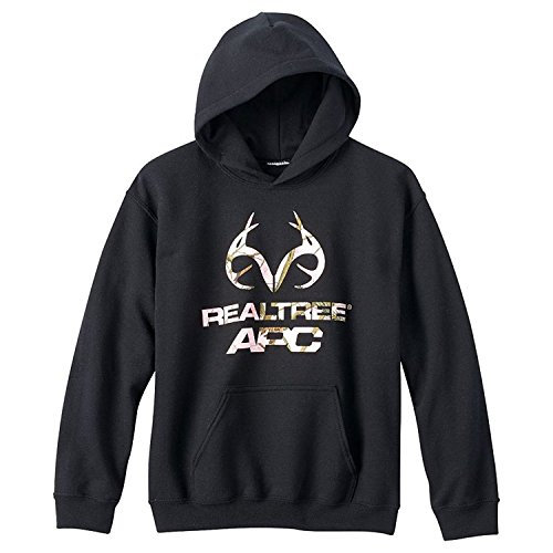 Realtree APC Girls Camo Graphic Pullover Hoodie Sweatshirt (Black/Pink) (Small)