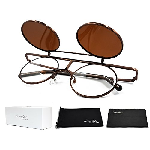 SamuRita Bold Flip Up Small Round Steampunk Sunglasses Polarized Favor Shades(Bronze Frame)